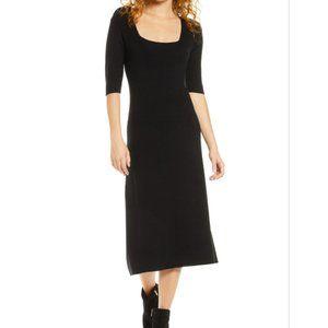 CHARLES HENRY Midi Sweater Dress black